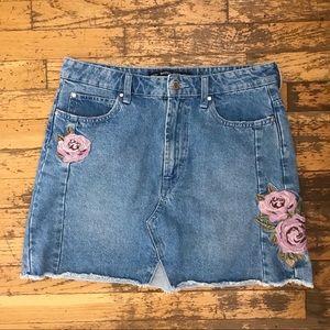 Rose Embroidered Denim Mini Skirt
